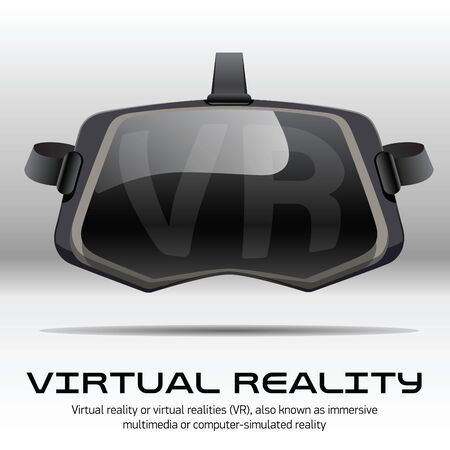 stereoscopic: Original stereoscopic 3d vr headset. Front view. Vector illustration Isolated on white background.