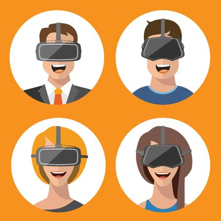 Virtual reality VR glasses man and woman vector flat icons