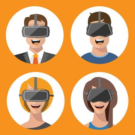 virtual reality simulator: Virtual reality VR glasses man and woman vector flat icons Illustration
