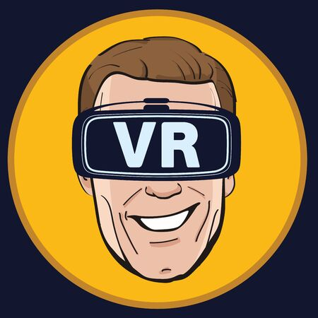 virtual reality simulator: Man with Virtual reality glasses icon