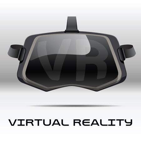 simulations: Original stereoscopic 3d vr headset. Front view. illustration Isolated on white background.