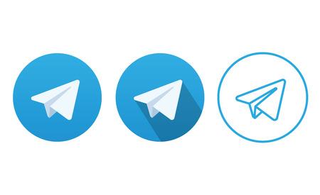 telegrama: Bot�n azul del icono de un avi�n Aviones Vector