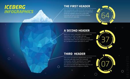 빙산 infographics. 구조 디자인, 얼음과 물, 바다 벡터 일러스트 레이션
