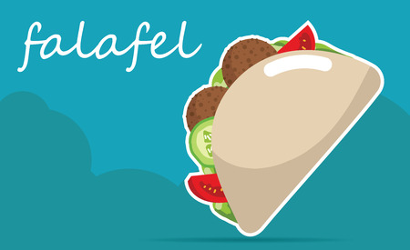 pita bread: Falafel stuffed pita with vegetables.  Vector illustrations
