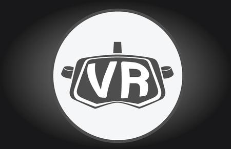 VR gafas de realidad virtual simple vector icono plana Ilustración de vector