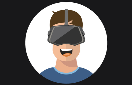 virtual reality simulator: Virtual reality VR glasses man vector flat icons