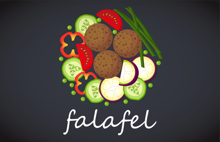 view from above: Plate of vegetarian falafel. View from above.