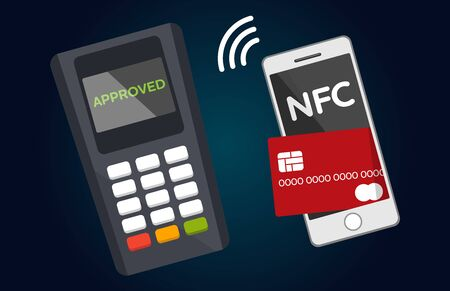 nfc: Mobile payments and near field communication. Transaction and paypass and NFC. Vector illustration Illustration