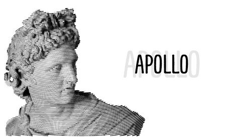 Apollo Gravure tête esquisse antique sculpture illustration