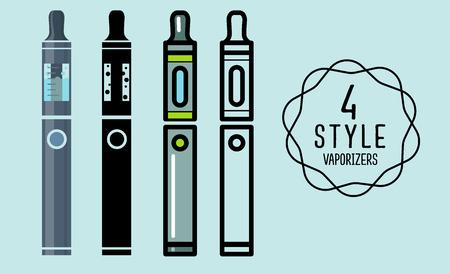 eliquid: Set of vector flat silhouette icons vaporizers, Vape, e-cigarette, e-liquid , isolated on background