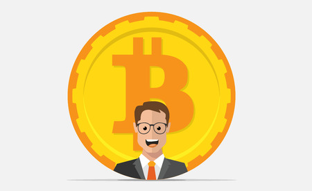 mining equipment: Bitcoin mining equipment. Digital Bitcoin. Golden coin with Bitcoin symbol and man.