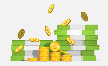 money savings: Big stacked pile of cash and some gold coins. Flat style illustration. EPS 10 vector. Illustration