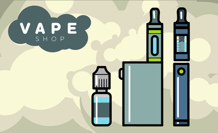 tobacco product: Electronic cigarettes vape vapor vaporizers Vector illustration