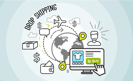 mediation: Drop shipping concept icon flat style. Drop shipping. Dropship business, box cardboard, distribution package, service web, pack delivery, cargo and buy, internet sale technology illustration. Stock Photo