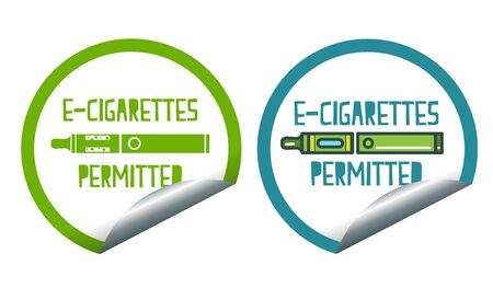 permitted: Set icons of electronic cigarettes permitted sticker label sign Illustration