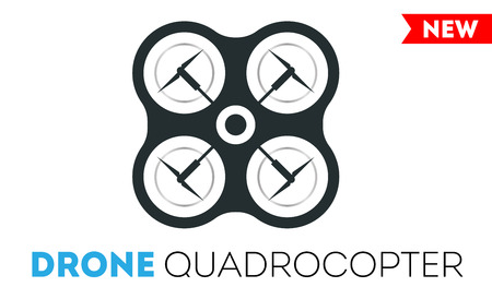 controlled: Drone quadrocopter vector Icon. Flight controlled security quadrocopters drone helicopter.
