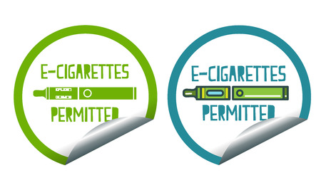 permitted: Set icons of electronic cigarettes permitted sticker label sign Stock Photo