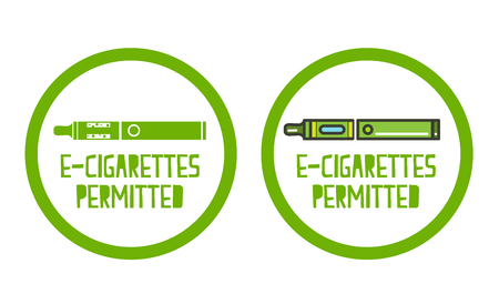 permitted: Electronic cigarettes permitted sign set of icons