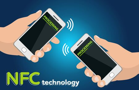 nfc: Mobile payment processing concept. Two Hands holding modern phones. Near field communication technology. Money transfer. Two mobile phones with NFC payment technology. Near field commun