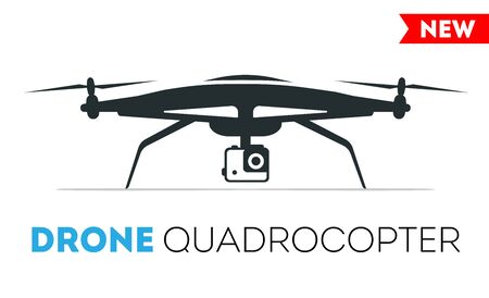 controlled: Drone quadrocopter Icon. Flight controlled security quadrocopters drone helicopter. Stock Photo