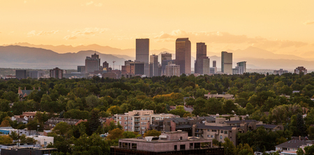 View of Downtown Denver at Sunset