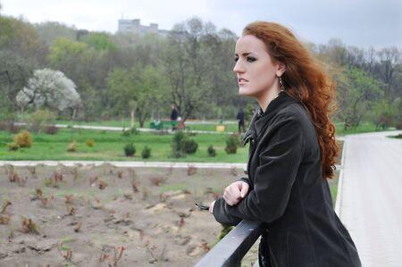 Redhead girl sad  Standard-Bild