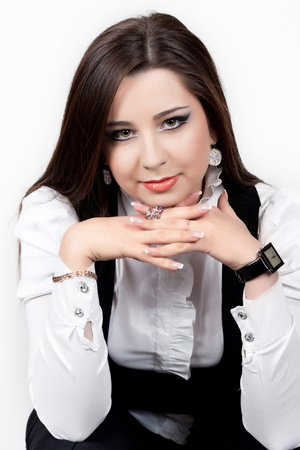 beautiful brunette on wihte background  photo