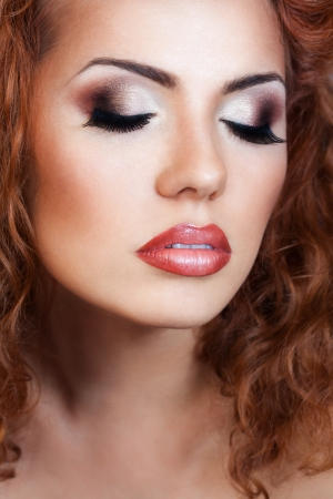 a close up portrait of a red hair beautiful girl  photo