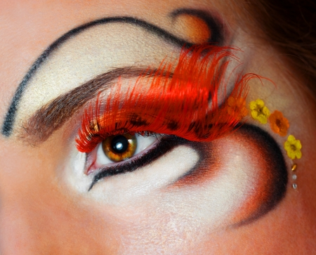 a close up portrait of a pretty redhead girl with professional makeup Standard-Bild