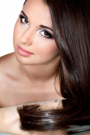 a close up portrait of a brunette beautiful girl  photo