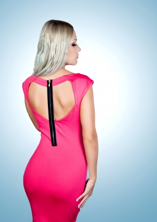 Profile picture f a blonde girl in a pink dress photo
