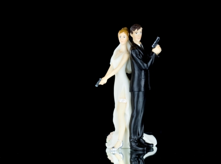 Wedding cake topper in a police style with rings  photo
