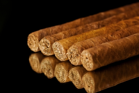 Close up picture of five cigars in the studio Фото со стока