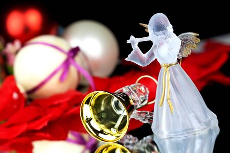 Golden Angel Bell on a Christmas Tree photo
