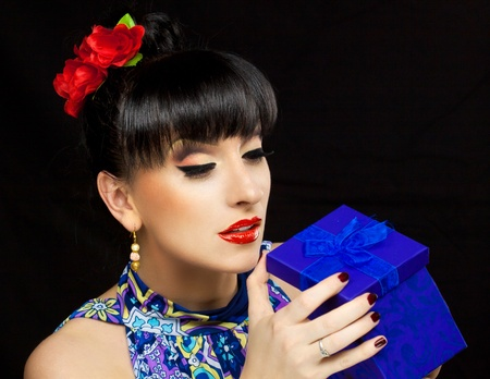 close up portrait of a pretty girl with accessories photo