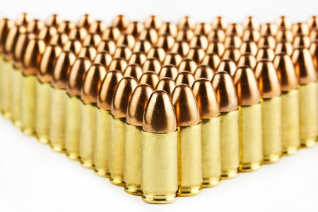 9mm: 9 mm bullets on a white background isolated Stock Photo
