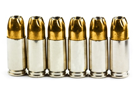 9 mm bullets on a white background isolated Stock Photo - 17600031