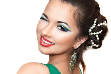 close up portrait of a pretty girl with accessories Standard-Bild