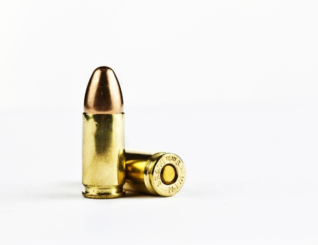 9 mm bullets on a white background isolated Stock Photo - 17932169