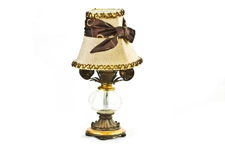 Vintage Lampe de table avec vue sur fond blanc Banque d'images - 17932190