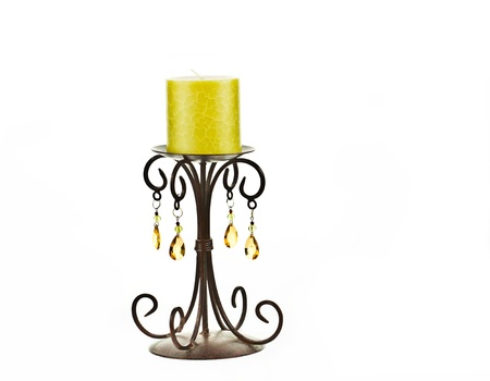 candle holder: Yellow candle on a rock candle holder