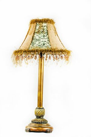 lamp shade: Vintage looking table lamp over white background Stock Photo