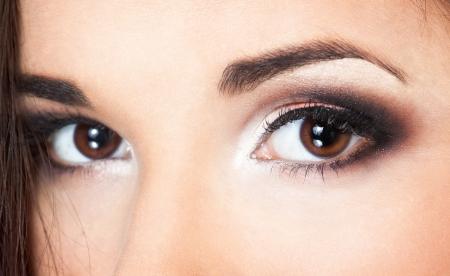 a close up portraite of a beautiful brunette  photo