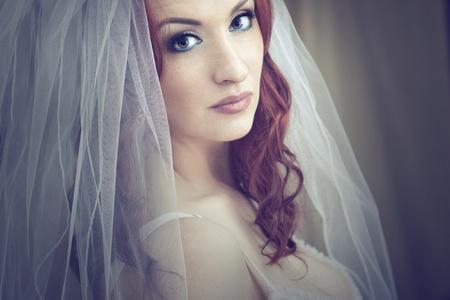 Portrait of a happy bride  photo