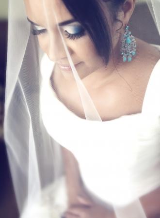 Close up portrait of a bride under the veil