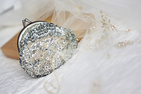 Close-up picture of a little bridal purse