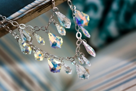 Close up picture of a bridal necklace photo