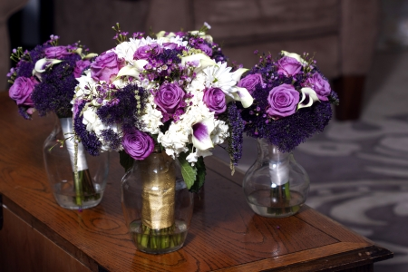 Close up picture of a bridal bouquet on a chair  photo
