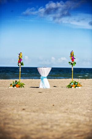 Wedding decoration and wedding ceremony on the beach