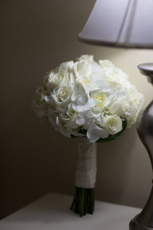 Close up of a beautiful bridal flower bouquet on a wedding day Stock Photo
